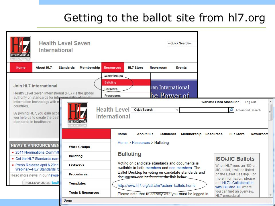 www.healthstory.com Getting to the ballot site from hl7.org