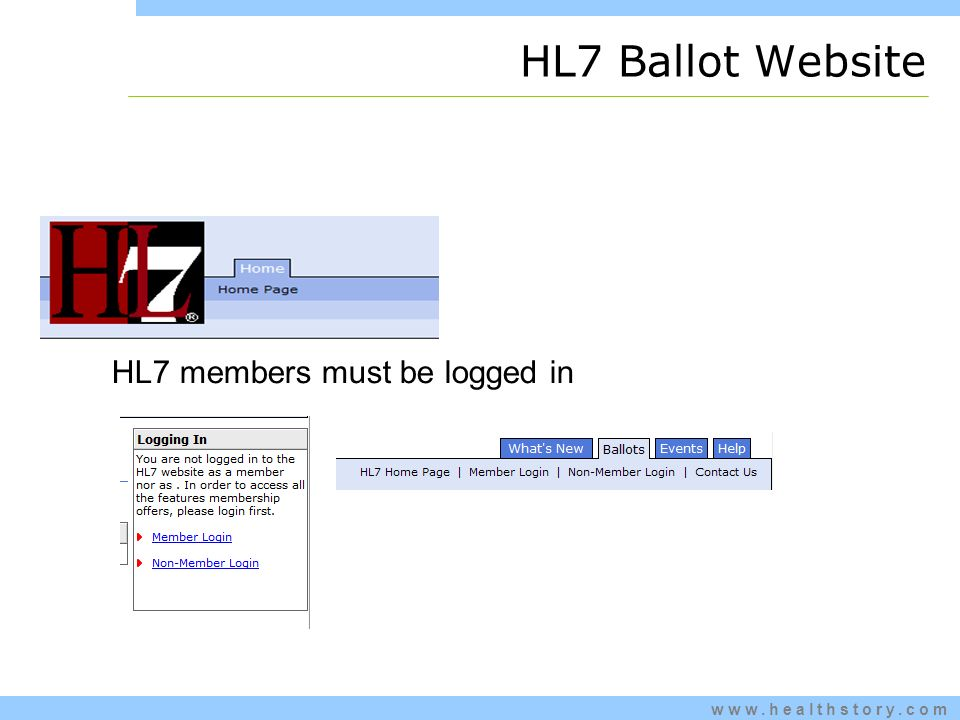 www.healthstory.com HL7 members must be logged in HL7 Ballot Website