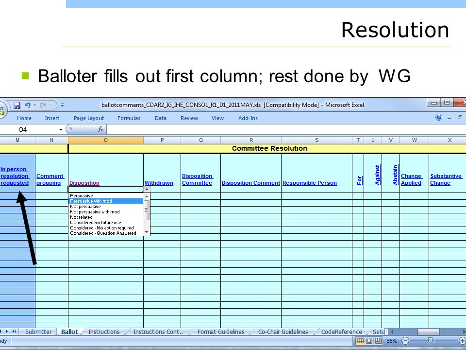 www.healthstory.com Resolution Balloter fills out first column; rest done by WG