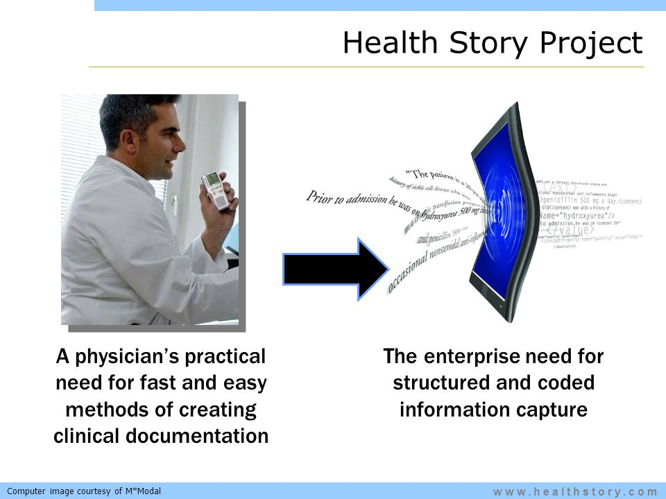 www.healthstory.com A physicians practical need for fast and easy methods of creating clinical documentation The enterprise need for structured and coded information capture Health Story Project Computer image courtesy of M*Modal