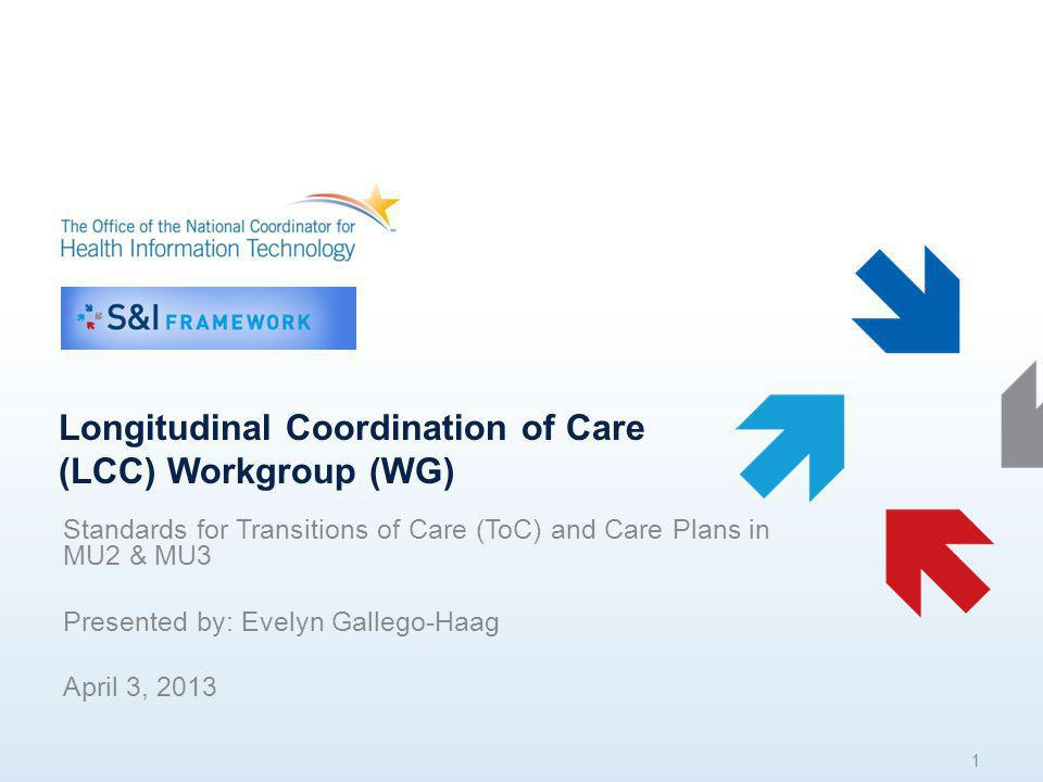 Longitudinal Coordination of Care (LCC) Workgroup (WG) Standards for Transitions of Care (ToC) and Care Plans in MU2 & MU3 Presented by: Evelyn Gallego-Haag April 3, 2013 1