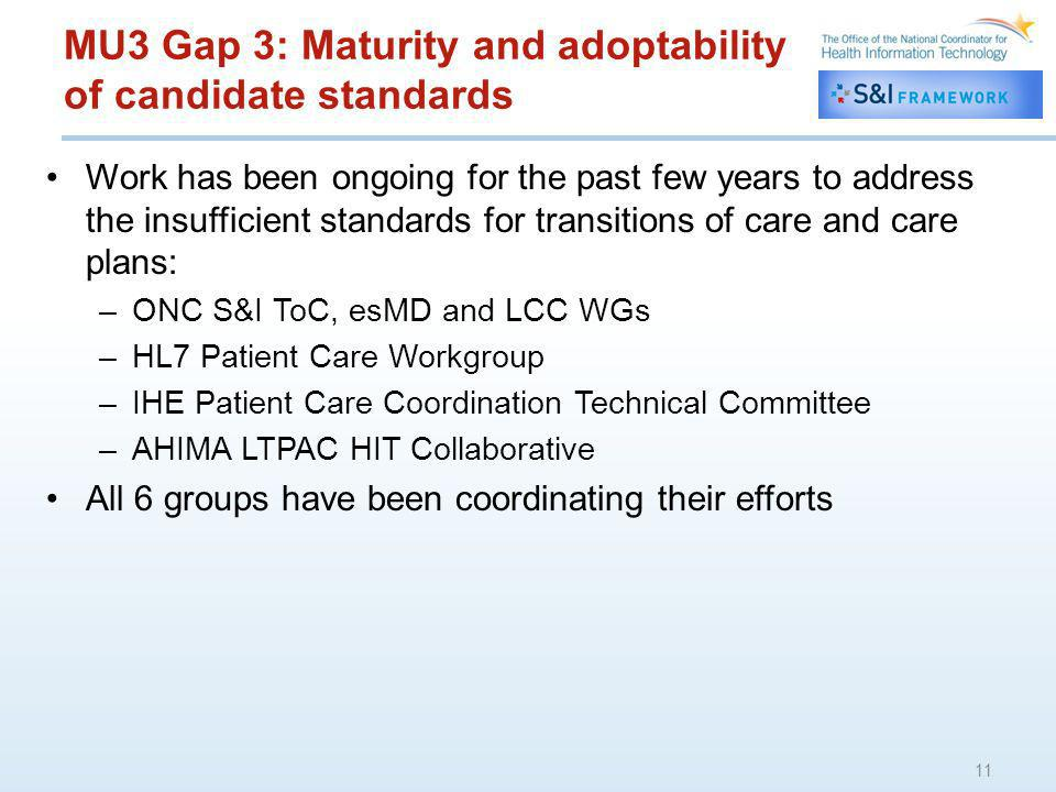 MU3 Gap 3: Maturity and adoptability of candidate standards Work has been ongoing for the past few years to address the insufficient standards for transitions of care and care plans: –ONC S&I ToC, esMD and LCC WGs –HL7 Patient Care Workgroup –IHE Patient Care Coordination Technical Committee –AHIMA LTPAC HIT Collaborative All 6 groups have been coordinating their efforts 11