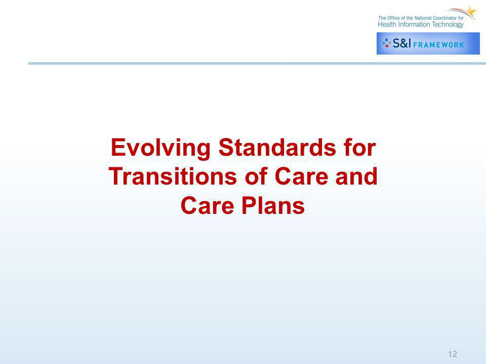 Evolving Standards for Transitions of Care and Care Plans 12 Evolving Standards for Transitions of Care and Care Plans