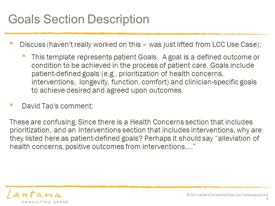 © 2011 Lantana Consulting Group, www.lantanagroup.com 5 Discuss (haven t really worked on this – was just lifted from LCC Use Case): This template represents patient Goals.