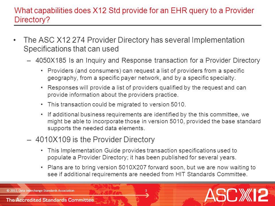 2011, Data Interchange Standards Association Provider