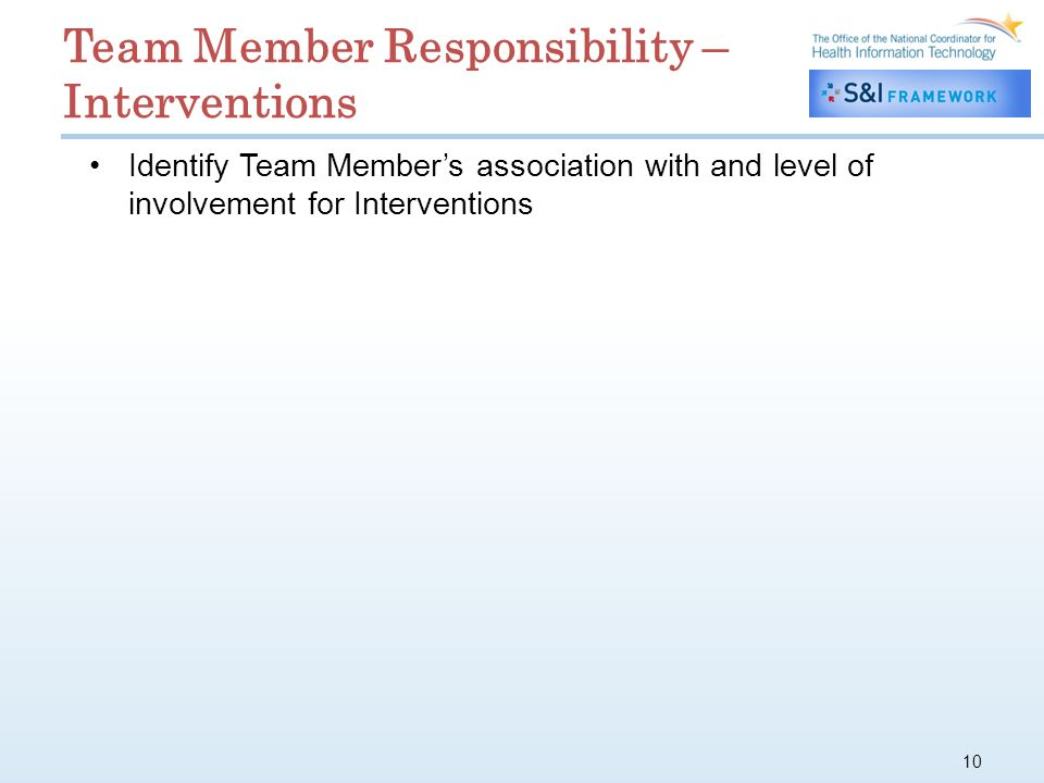 10 Identify Team Members association with and level of involvement for Interventions Team Member Responsibility – Interventions