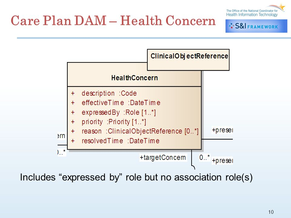 10 Care Plan DAM – Health Concern Includes expressed by role but no association role(s)