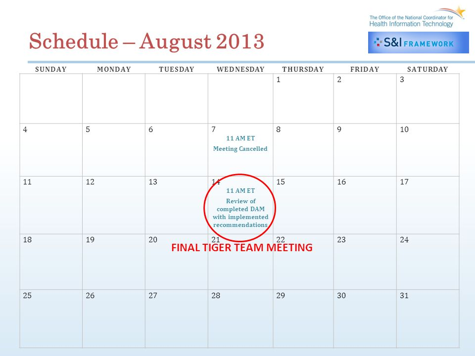 Schedule – August 2013 SUNDAYMONDAYTUESDAYWEDNESDAYTHURSDAYFRIDAYSATURDAY 123 45678910 11 AM ET Meeting Cancelled 11121314151617 11 AM ET Review of completed DAM with implemented recommendations 18192021222324 25262728293031 FINAL TIGER TEAM MEETING