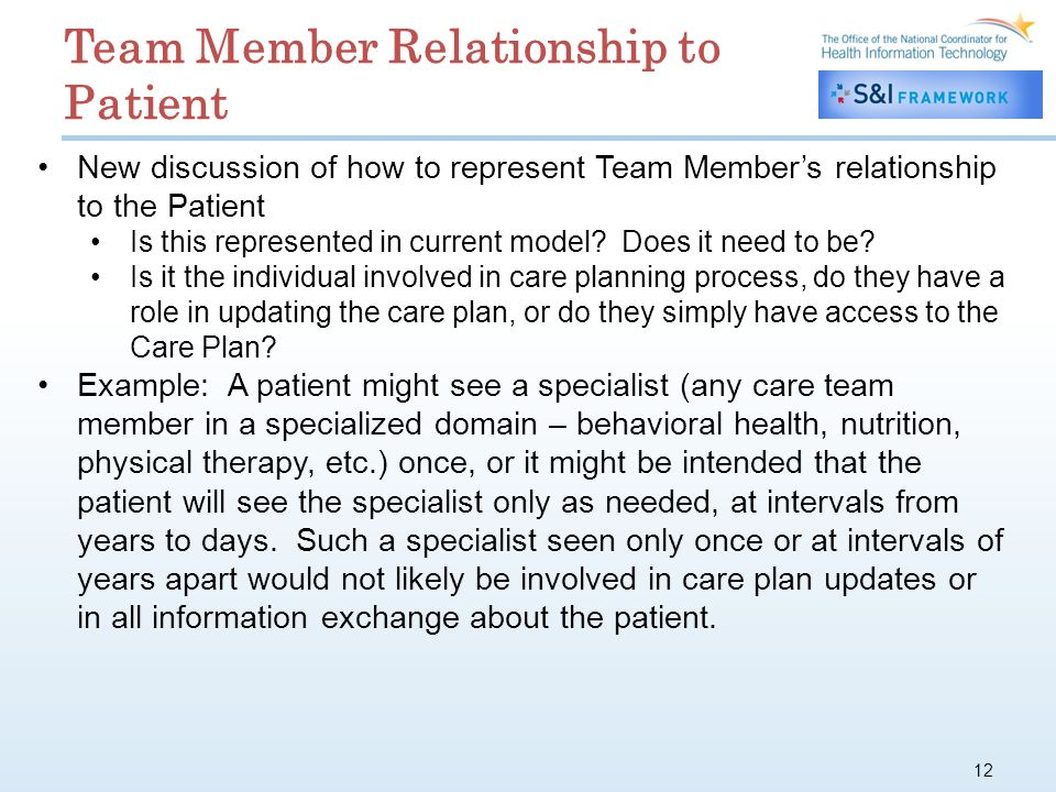 12 New discussion of how to represent Team Members relationship to the Patient Is this represented in current model.