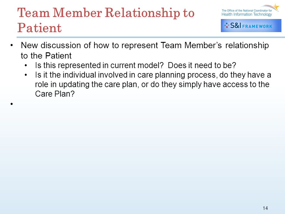 14 New discussion of how to represent Team Members relationship to the Patient Is this represented in current model.