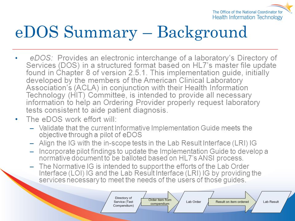 eDOS Summary – Background eDOS: Provides an electronic interchange of a laboratorys Directory of Services (DOS) in a structured format based on HL7s master file update found in Chapter 8 of version 2.5.1.