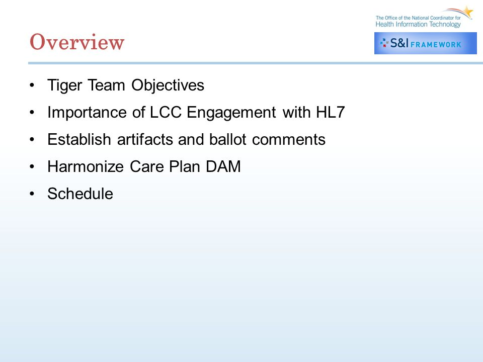 Overview Tiger Team Objectives Importance of LCC Engagement with HL7 Establish artifacts and ballot comments Harmonize Care Plan DAM Schedule
