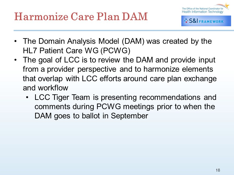 18 The Domain Analysis Model (DAM) was created by the HL7 Patient Care WG (PCWG) The goal of LCC is to review the DAM and provide input from a provider perspective and to harmonize elements that overlap with LCC efforts around care plan exchange and workflow LCC Tiger Team is presenting recommendations and comments during PCWG meetings prior to when the DAM goes to ballot in September Harmonize Care Plan DAM