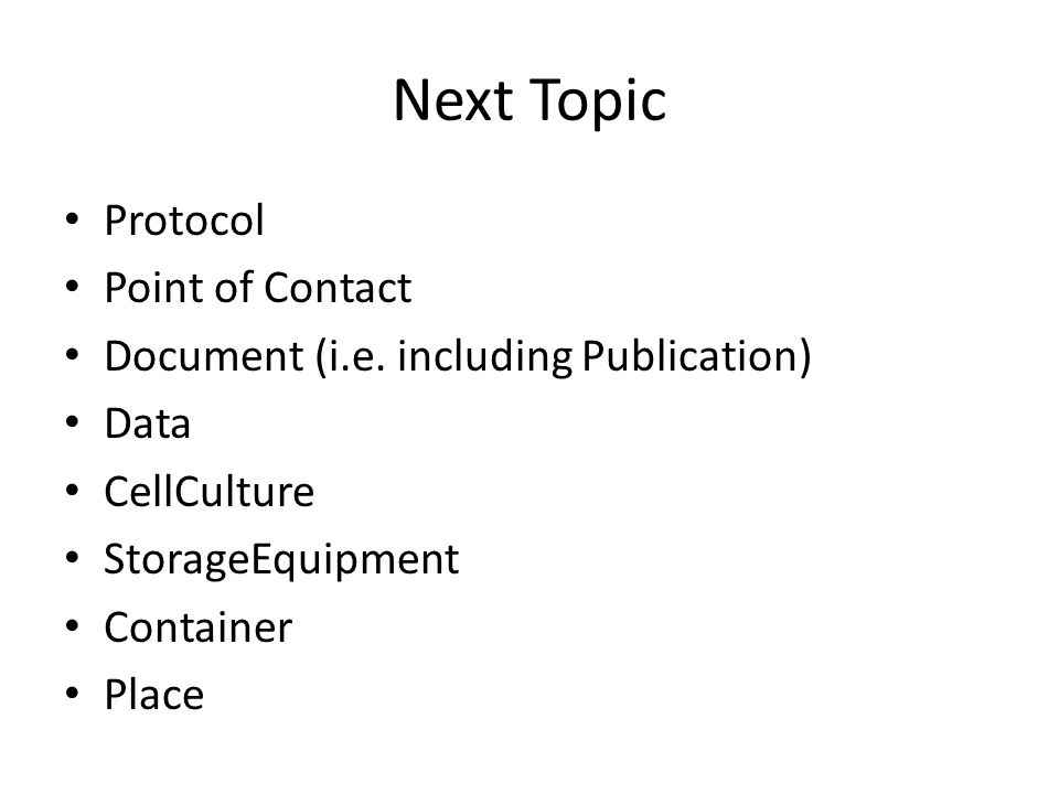 Next Topic Protocol Point of Contact Document (i.e.