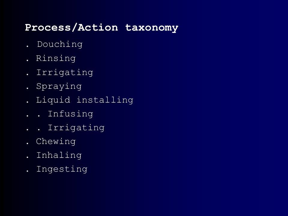 Process/Action taxonomy. Douching. Rinsing. Irrigating.