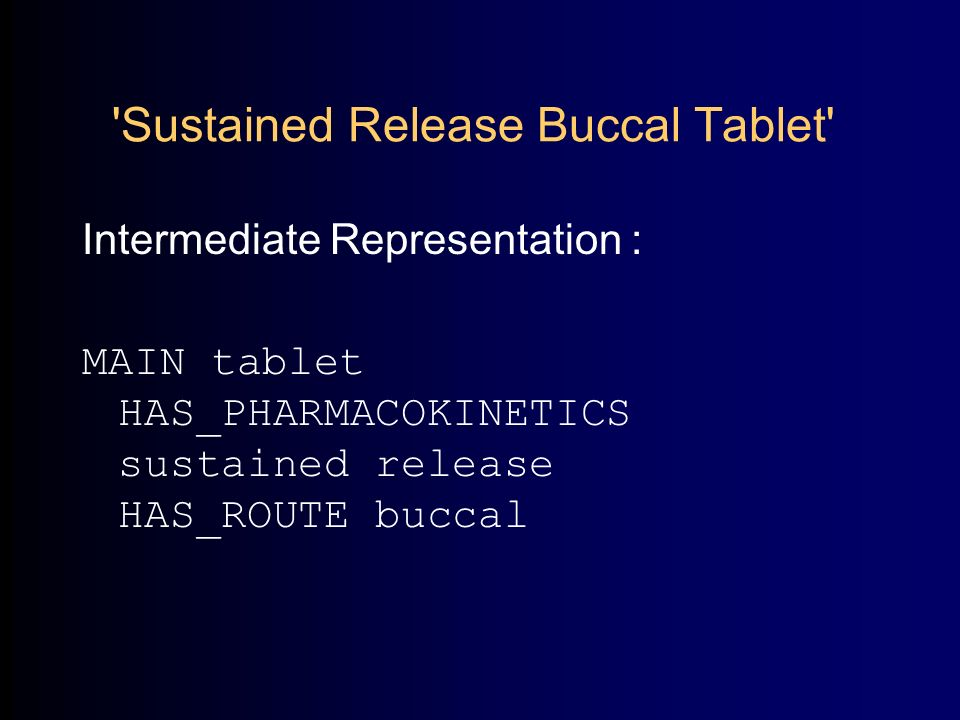 Sustained Release Buccal Tablet Intermediate Representation : MAIN tablet HAS_PHARMACOKINETICS sustained release HAS_ROUTE buccal