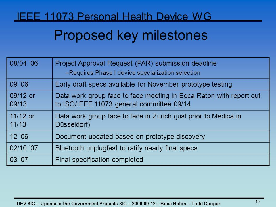 10 IEEE Personal Health Device WG Proposed key milestones 08/04 06Project Approval Request (PAR) submission deadline –Requires Phase I device specialization selection 09 06Early draft specs available for November prototype testing 09/12 or 09/13 Data work group face to face meeting in Boca Raton with report out to ISO/IEEE general committee 09/14 11/12 or 11/13 Data work group face to face in Zurich (just prior to Medica in Düsseldorf) 12 06Document updated based on prototype discovery 02/10 07Bluetooth unplugfest to ratify nearly final specs 03 07Final specification completed DEV SIG – Update to the Government Projects SIG – – Boca Raton – Todd Cooper