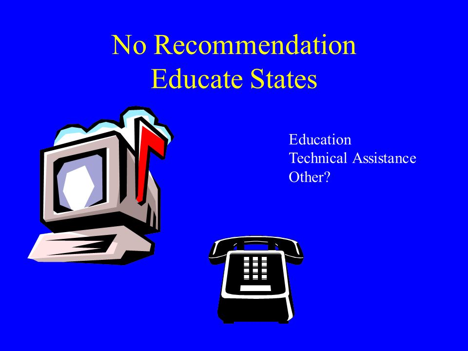 No Recommendation Educate States Education Technical Assistance Other