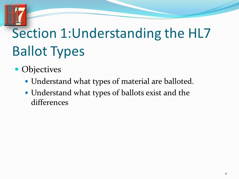 Section 1:Understanding the HL7 Ballot Types Objectives Understand what types of material are balloted.