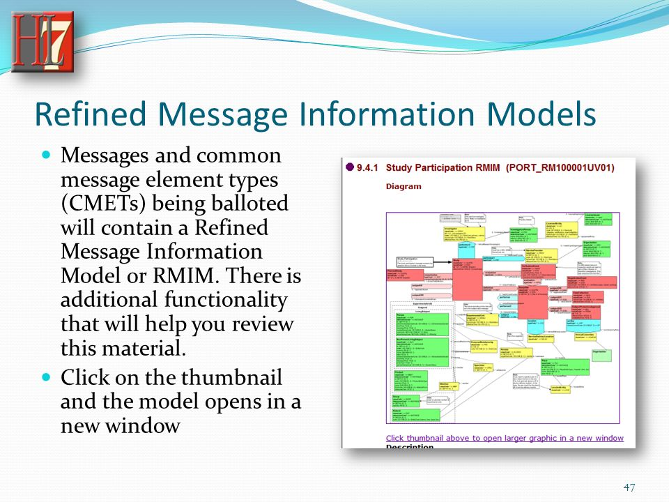 Refined Message Information Models Messages and common message element types (CMETs) being balloted will contain a Refined Message Information Model or RMIM.