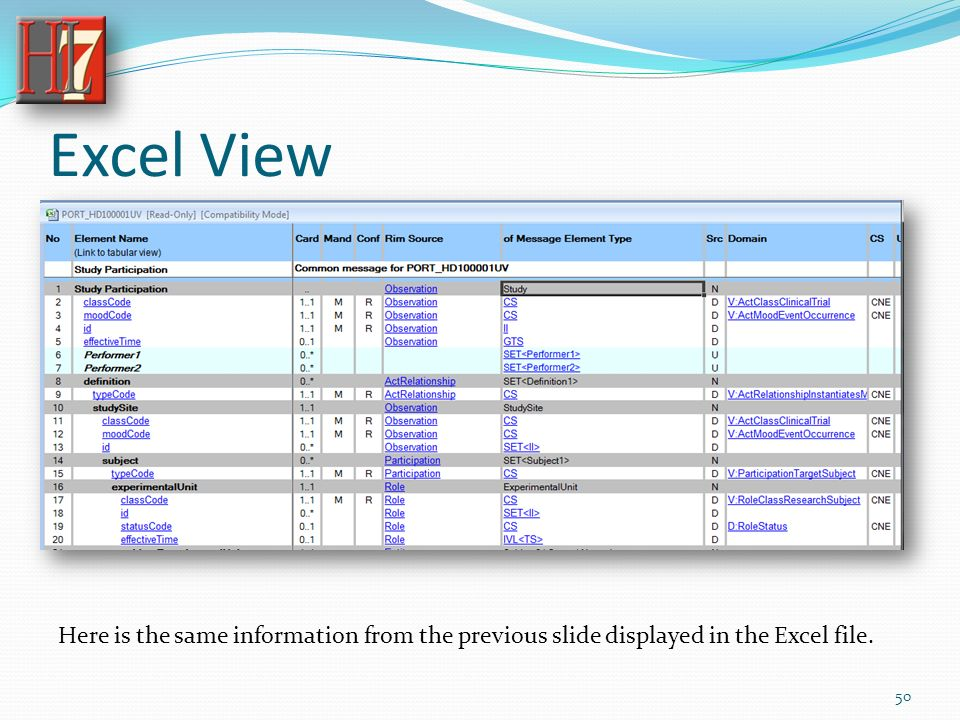 Excel View Here is the same information from the previous slide displayed in the Excel file. 50