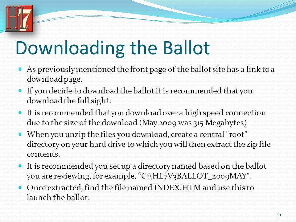 Downloading the Ballot As previously mentioned the front page of the ballot site has a link to a download page.