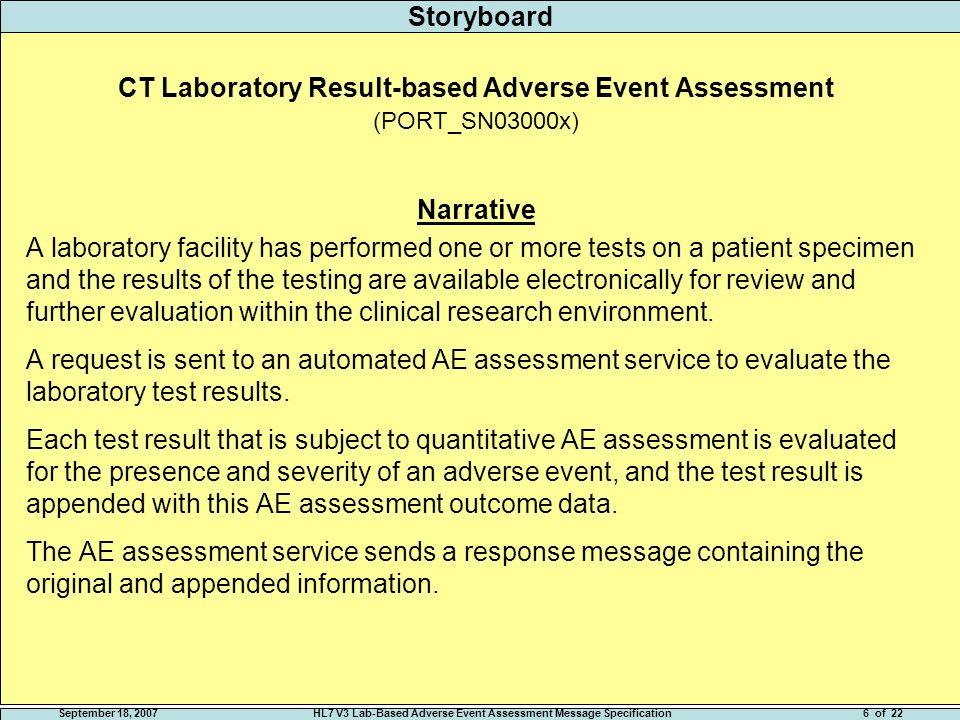 September 18, 2007HL7 V3 Lab-Based Adverse Event Assessment Message Specification5 of 22 Storyboard Overview Laboratory test results can indicate a patient has experienced/is experiencing an adverse event (AE).
