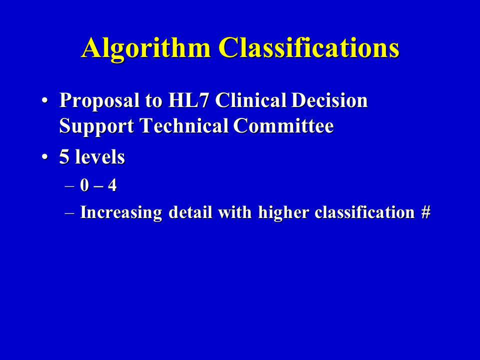 Algorithm Classifications Proposal to HL7 Clinical Decision Support Technical CommitteeProposal to HL7 Clinical Decision Support Technical Committee 5 levels5 levels –0 – 4 –Increasing detail with higher classification #