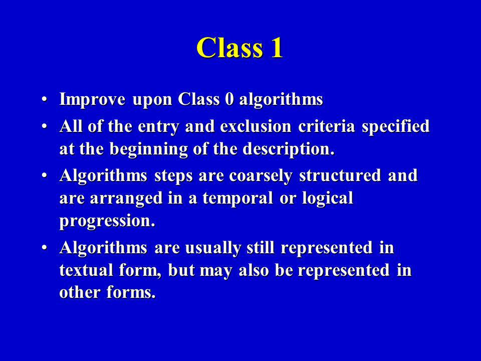 Class 1 Improve upon Class 0 algorithmsImprove upon Class 0 algorithms All of the entry and exclusion criteria specified at the beginning of the description.All of the entry and exclusion criteria specified at the beginning of the description.