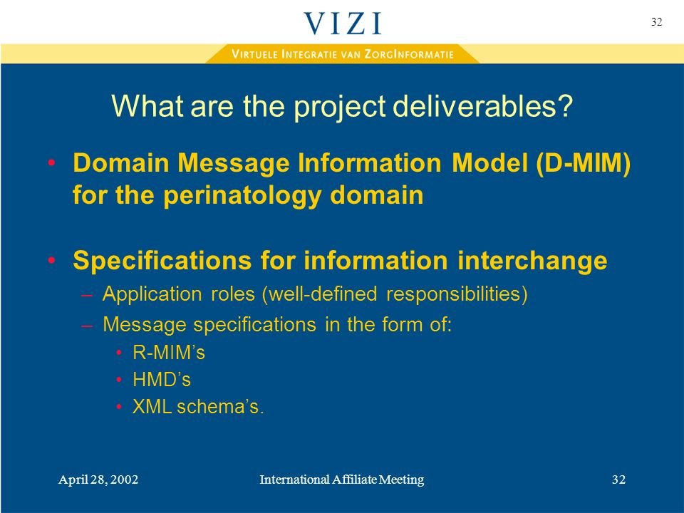 32 April 28, 2002International Affiliate Meeting32 What are the project deliverables.