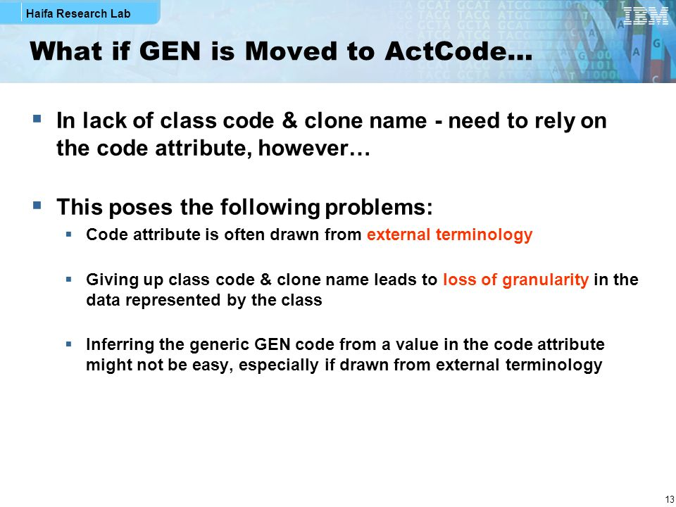 Haifa Research Lab 13 What if GEN is Moved to ActCode… In lack of class code & clone name - need to rely on the code attribute, however… This poses the following problems: Code attribute is often drawn from external terminology Giving up class code & clone name leads to loss of granularity in the data represented by the class Inferring the generic GEN code from a value in the code attribute might not be easy, especially if drawn from external terminology
