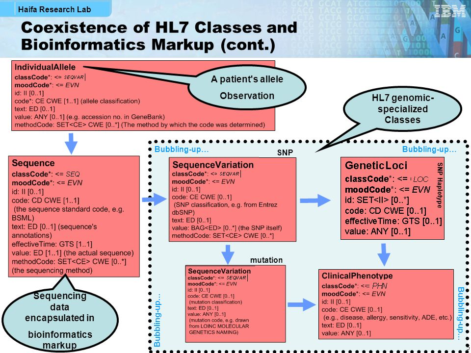 Haifa Research Lab 5 Coexistence of HL7 Classes and Bioinformatics Markup (cont.) A patient s allele Observation HL7 genomic- specialized Classes Bubbling-up… Sequencing data encapsulated in bioinformatics markup SNP mutation SNP Haplotype