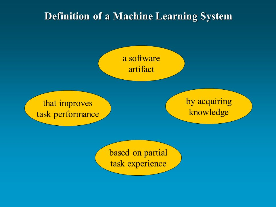 Definition of a Machine Learning System that improves task performance by acquiring knowledge based on partial task experience a software artifact