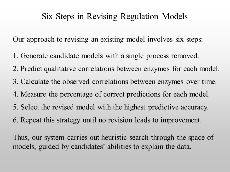 Six Steps in Revising Regulation Models Our approach to revising an existing model involves six steps: 1.
