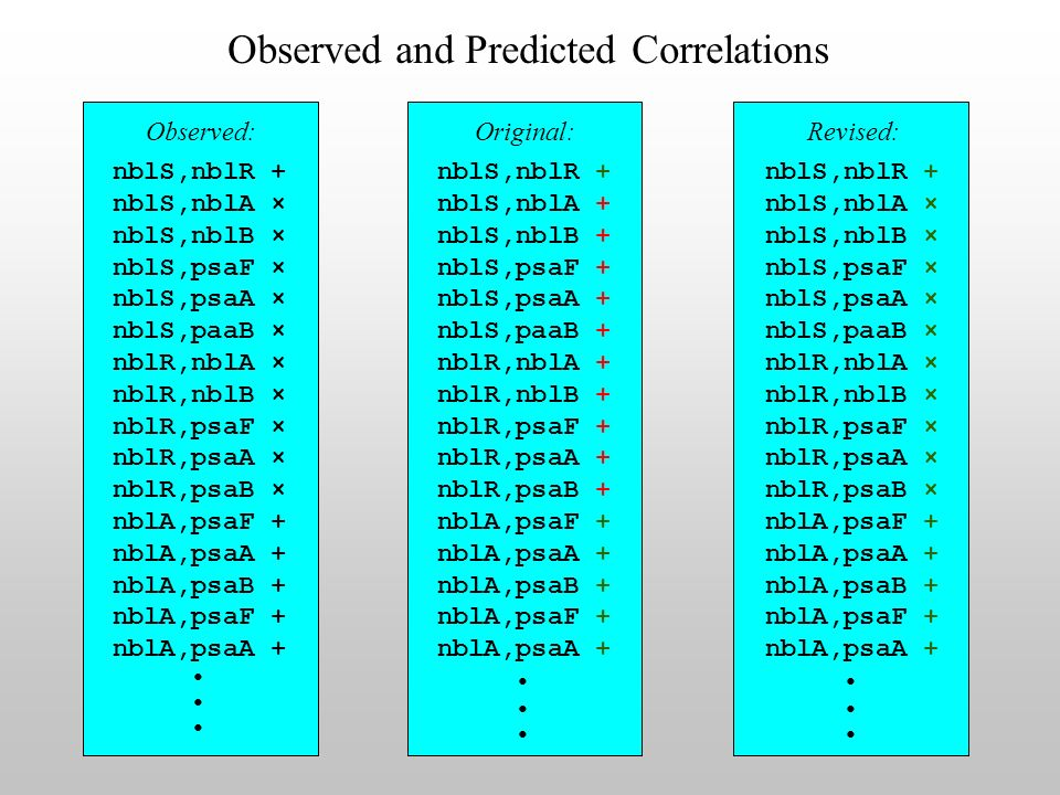 Observed and Predicted Correlations Observed: nblS,nblR + nblS,nblA × nblS,nblB × nblS,psaF × nblS,psaA × nblS,paaB × nblR,nblA × nblR,nblB × nblR,psaF × nblR,psaA × nblR,psaB × nblA,psaF + nblA,psaA + nblA,psaB + nblA,psaF + nblA,psaA + nblS,nblR + nblS,nblA + nblS,nblB + nblS,psaF + nblS,psaA + nblS,paaB + nblR,nblA + nblR,nblB + nblR,psaF + nblR,psaA + nblR,psaB + nblA,psaF + nblA,psaA + nblA,psaB + nblA,psaF + nblA,psaA + nblS,nblR + nblS,nblA × nblS,nblB × nblS,psaF × nblS,psaA × nblS,paaB × nblR,nblA × nblR,nblB × nblR,psaF × nblR,psaA × nblR,psaB × nblA,psaF + nblA,psaA + nblA,psaB + nblA,psaF + nblA,psaA + Original:Revised: