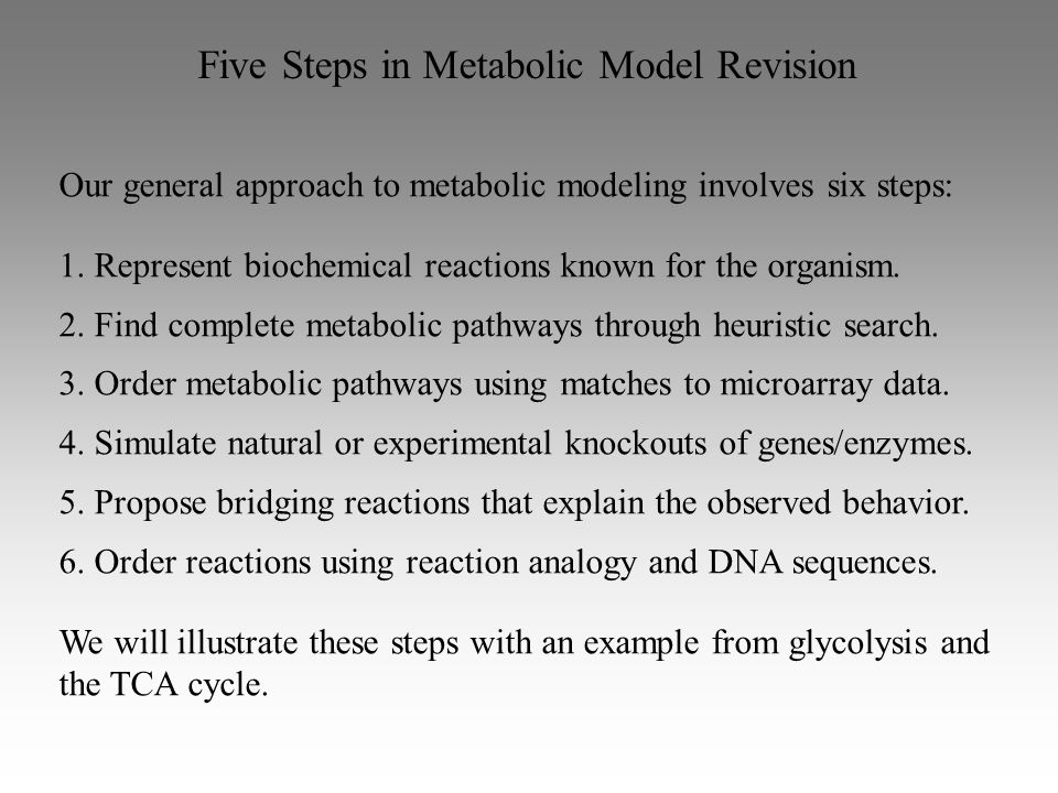 Five Steps in Metabolic Model Revision Our general approach to metabolic modeling involves six steps: 1.
