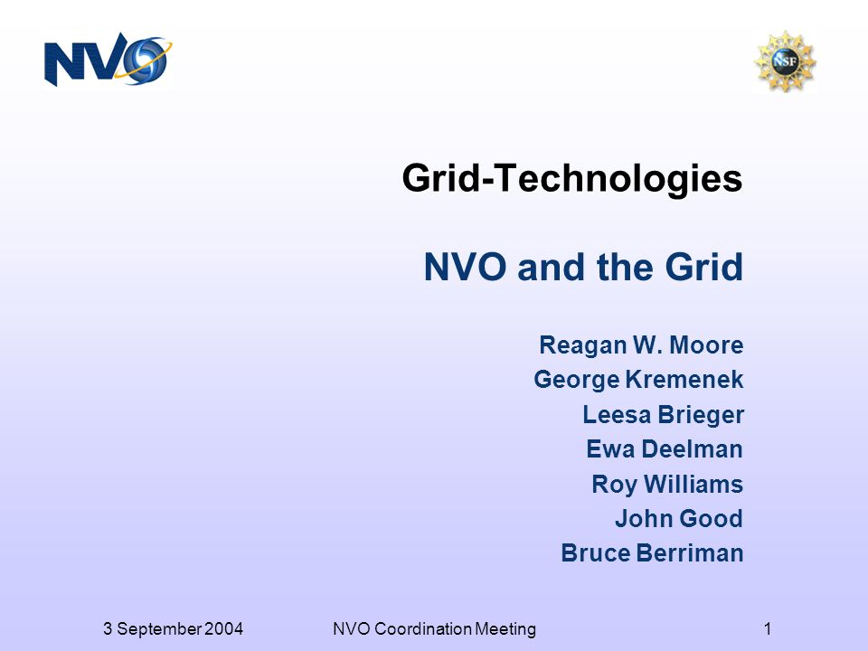3 September 2004NVO Coordination Meeting1 Grid-Technologies NVO and the Grid Reagan W.