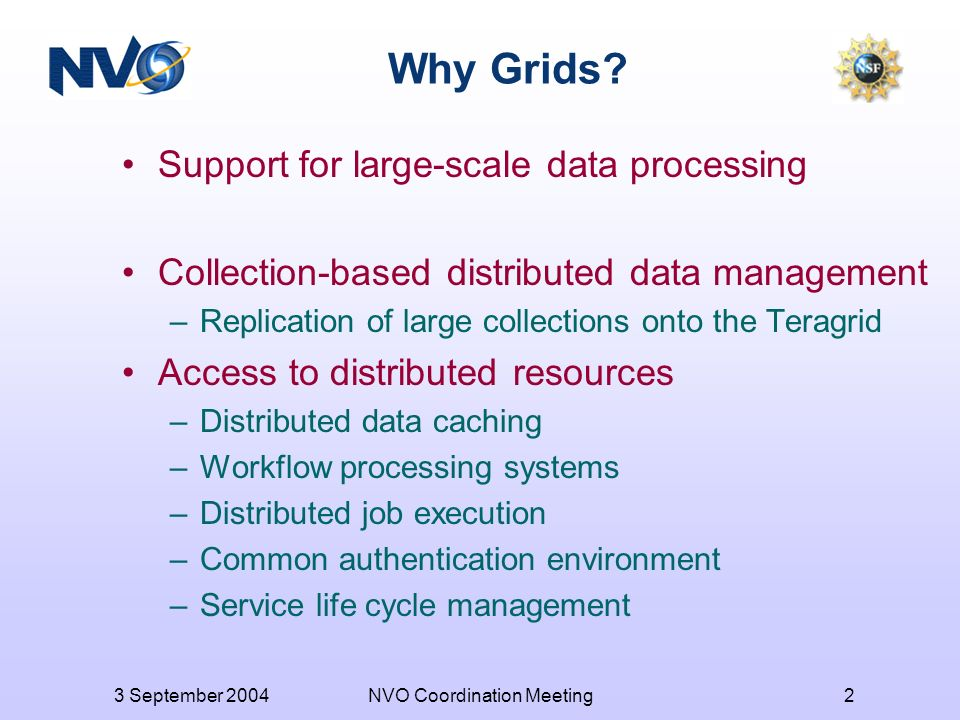 3 September 2004NVO Coordination Meeting2 Why Grids.