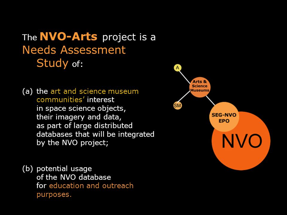 The NVO-Arts project is a Needs Assessment Study of: (a)the art and science museum communities interest in space science objects, their imagery and data, as part of large distributed databases that will be integrated by the NVO project; (b)potential usage of the NVO database for education and outreach purposes.