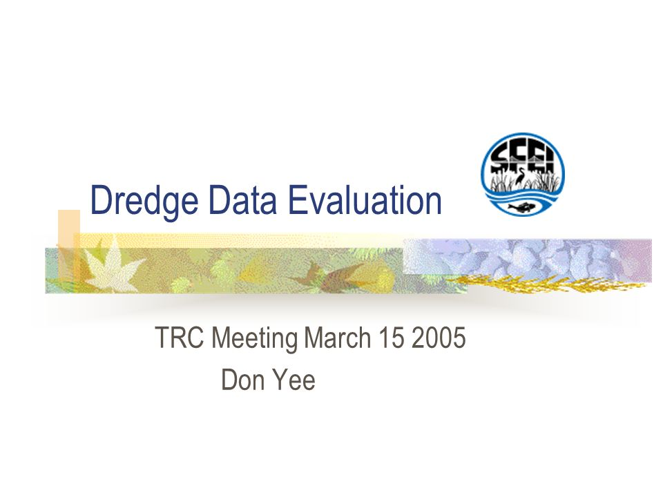 Dredge Data Evaluation TRC Meeting March 15 2005 Don Yee