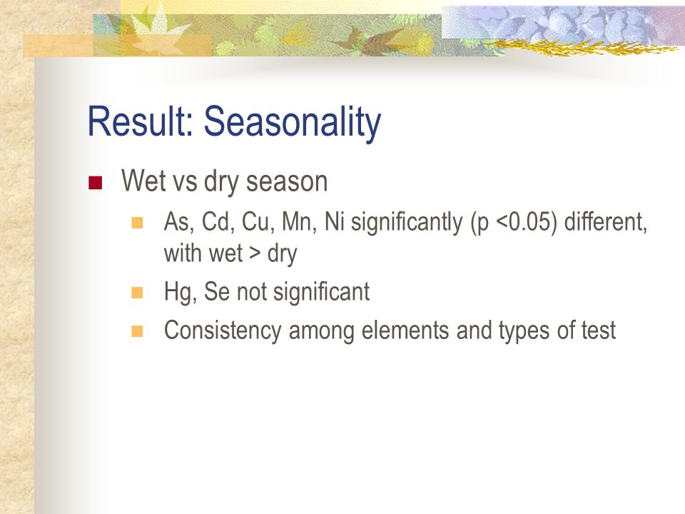 Result: Seasonality Wet vs dry season As, Cd, Cu, Mn, Ni significantly (p dry Hg, Se not significant Consistency among elements and types of test