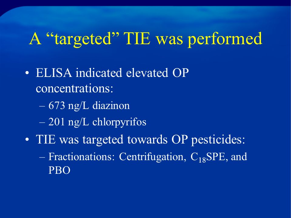 A targeted TIE was performed ELISA indicated elevated OP concentrations: –673 ng/L diazinon –201 ng/L chlorpyrifos TIE was targeted towards OP pesticides: –Fractionations: Centrifugation, C 18 SPE, and PBO