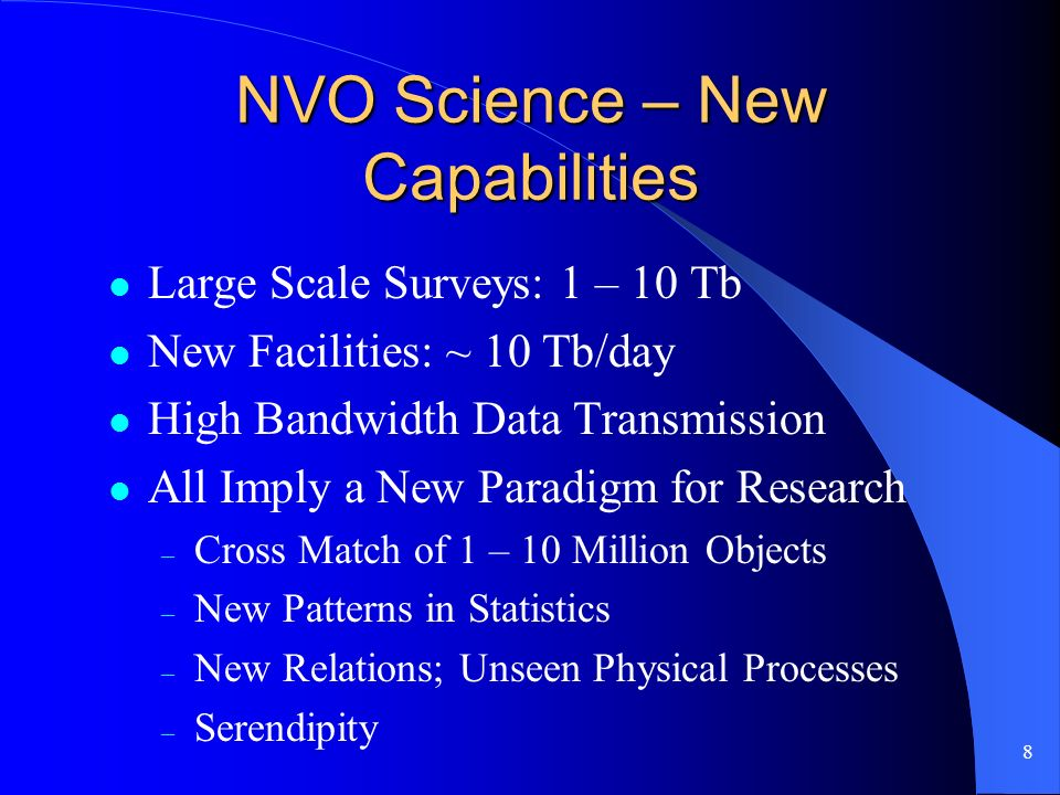 8 NVO Science – New Capabilities Large Scale Surveys: 1 – 10 Tb New Facilities: ~ 10 Tb/day High Bandwidth Data Transmission All Imply a New Paradigm for Research – Cross Match of 1 – 10 Million Objects – New Patterns in Statistics – New Relations; Unseen Physical Processes – Serendipity