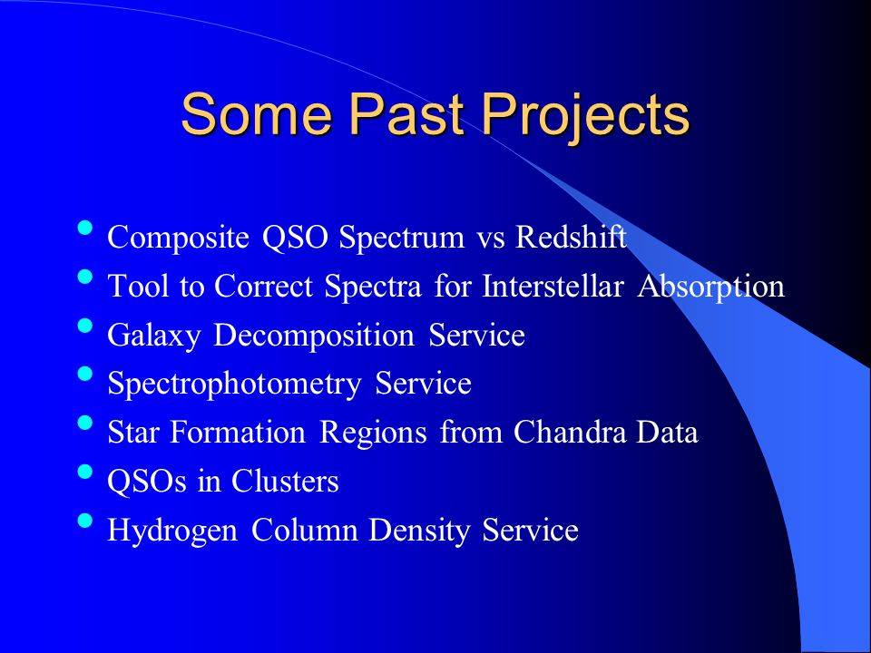 Some Past Projects Composite QSO Spectrum vs Redshift Tool to Correct Spectra for Interstellar Absorption Galaxy Decomposition Service Spectrophotometry Service Star Formation Regions from Chandra Data QSOs in Clusters Hydrogen Column Density Service
