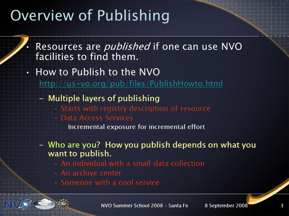 8 September 2008NVO Summer School 2008 – Santa Fe3 Overview of Publishing Resources are published if one can use NVO facilities to find them.