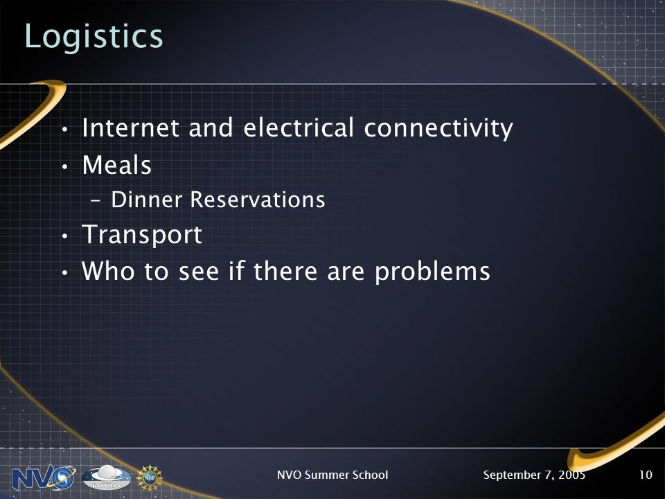 September 7, 2005NVO Summer School10 Logistics Internet and electrical connectivity Meals –Dinner Reservations Transport Who to see if there are problems