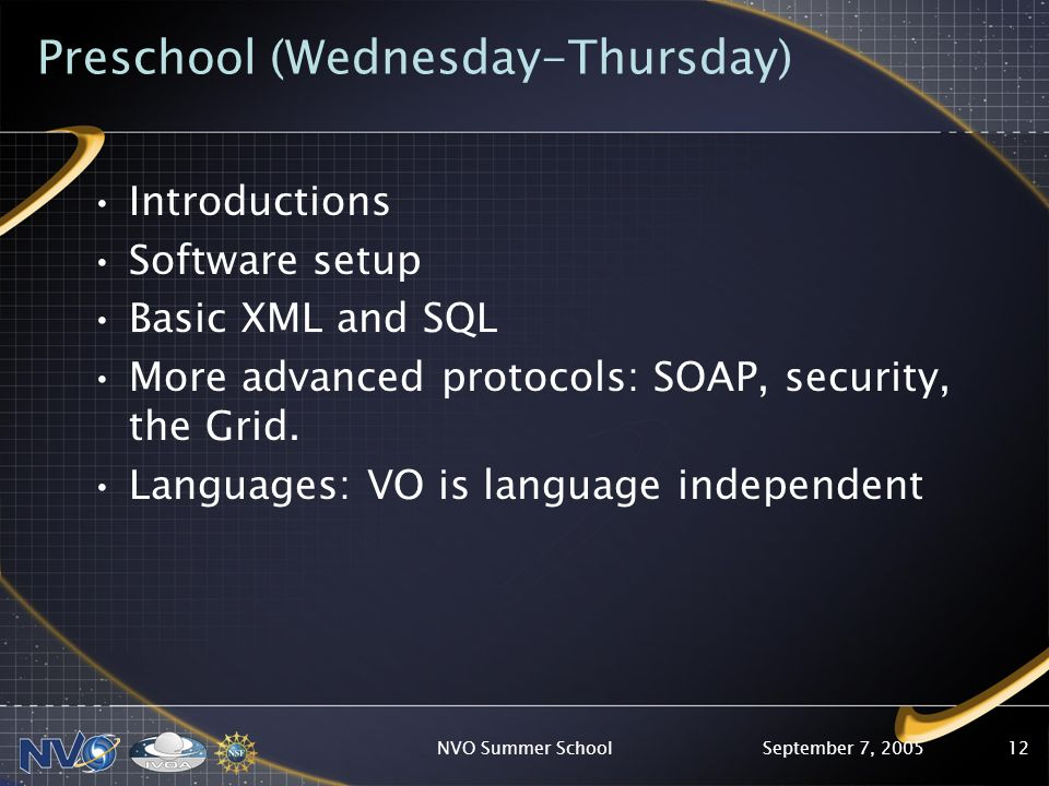 September 7, 2005NVO Summer School12 Preschool (Wednesday-Thursday) Introductions Software setup Basic XML and SQL More advanced protocols: SOAP, security, the Grid.