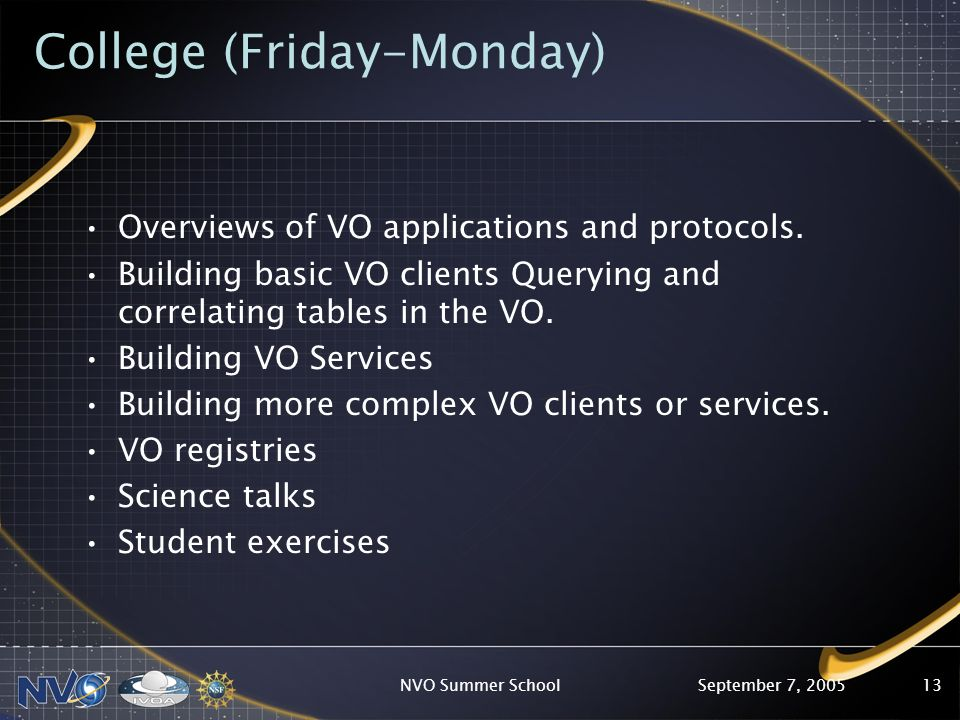 September 7, 2005NVO Summer School13 College (Friday-Monday) Overviews of VO applications and protocols.