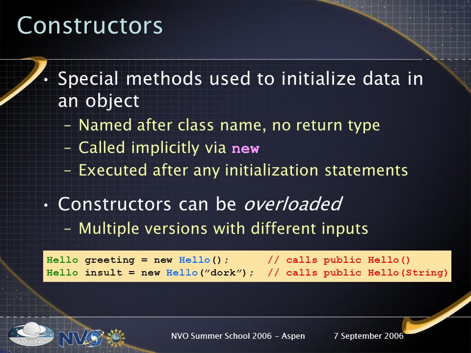 7 September 2006NVO Summer School 2006 - Aspen Constructors Special methods used to initialize data in an object –Named after class name, no return type –Called implicitly via new –Executed after any initialization statements Constructors can be overloaded –Multiple versions with different inputs Hello greeting = new Hello(); // calls public Hello() Hello insult = new Hello(dork); // calls public Hello(String)