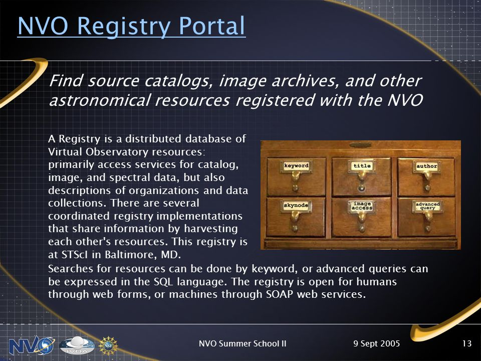 9 Sept 2005NVO Summer School II13 NVO Registry Portal Find source catalogs, image archives, and other astronomical resources registered with the NVO A Registry is a distributed database of Virtual Observatory resources: primarily access services for catalog, image, and spectral data, but also descriptions of organizations and data collections.
